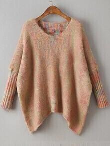Khaki Batwing Sleeve Asymmetrical Marled Knit Sweater