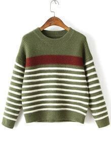 Green Striped Ribbed Trim Drop Shoulder Knitwear