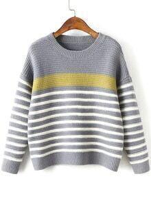 Grey Striped Ribbed Trim Drop Shoulder Knitwear