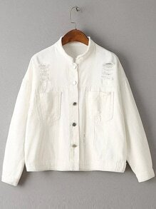 White Ripped Detail Pocket Front Button Up Jacket