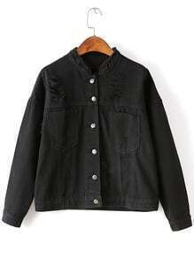 Black Ripped Detail Pocket Front Button Up Jacket