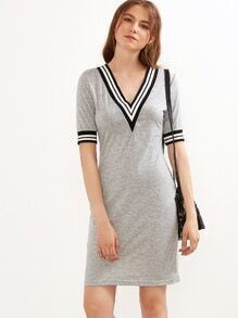Grey Striped Trim V Neck Sheath Dress