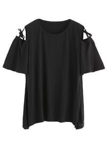 Black Open Shoulder Tie Detail T-shirt
