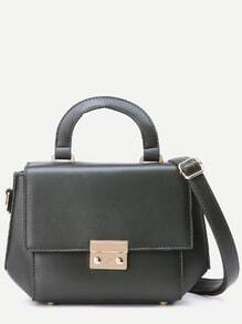 Grey Faux Leather Flap Shoulder Bag