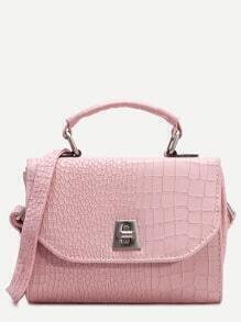 Pink PU Crocodile Embossed Flap Shoulder Bag