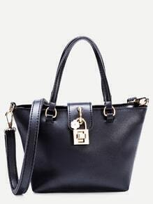 Black Faux Leather Tote Bag With Strap