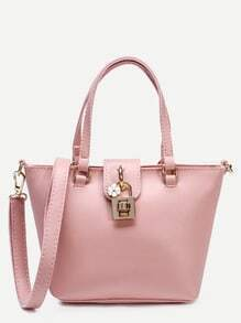Pink Faux Leather Tote Bag With Strap