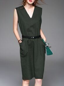 Army Green V Neck Belted Pockets Shift Dress