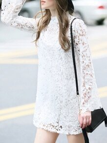 White Crochet Hollow Out Shift Dress