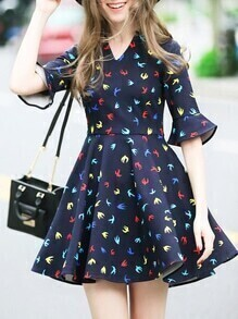 Navy V Neck Birds Print A-Line Dress