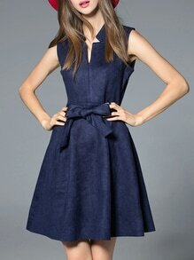 Navy V Neck Tie-Waist A-Line Dress
