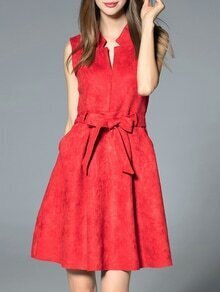 Red V Neck Tie-Waist A-Line Dress