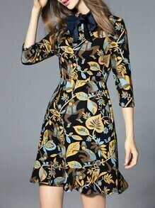 Multicolor Bowknot Neck Monkeys Leaves Frill Dress