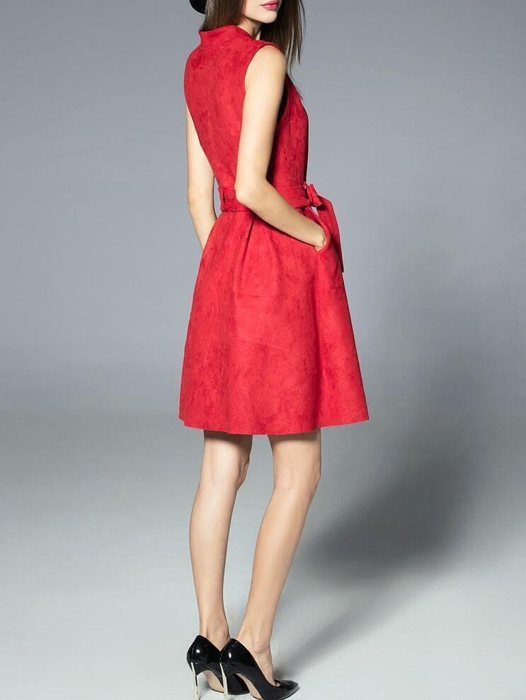 Robe evasee sans manche avec ceinture rouge french romwe for Robe rouge évasée