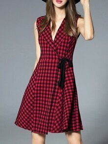Red V Neck Check Print A-Line Dress