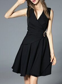 Black V Neck Tie-Waist A-Line Dress