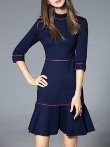 Navy Collar Frill Shift Dress