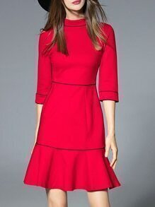 Red Collar Frill Shift Dress