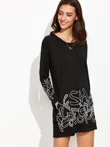 Black Letters Print Rhinestone Shift Dress