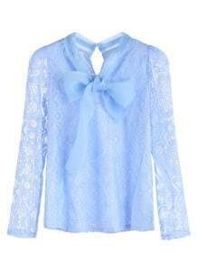 Light Blue Bow Tie Keyhole Back Lace Blouse
