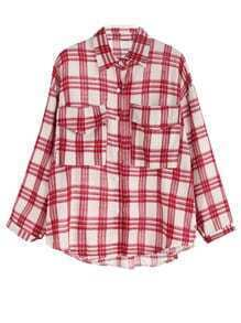 Red Plaid Dropped Shoulder Seam Pockets Shirt