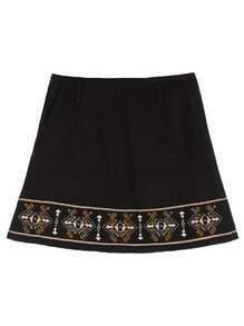 Black Tribal Embroidered Suede A Line Skirt With Zipper