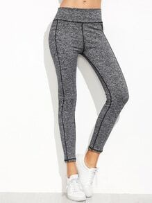 Grey Elastic Waist Skinny Leggings With Stitch Detail