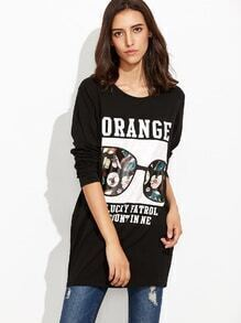 Black Printed Embroidered Long T-shirt