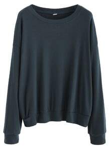 Indigo Blue Dropped Shoulder Seam Basic Sweatshirt