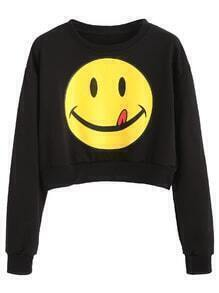Black Smile Face Print Crop Sweatshirt