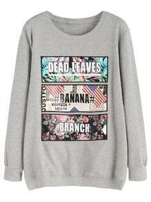 Heather Grey Printed Embroidered Sweatshirt