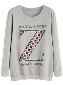 Light Grey Letter Print Rhinestone Sweatshirt