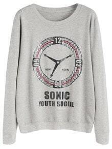 Light Grey Clock Letter Print Rhinestone Sweatshirt