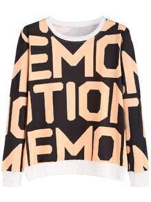 Black Contrast Trim Letters Print Sweatshirt