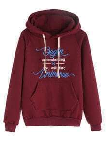 Burgundy Slogan Print Raglan Sleeve Drawstring Hooded Pocket Sweatshirt