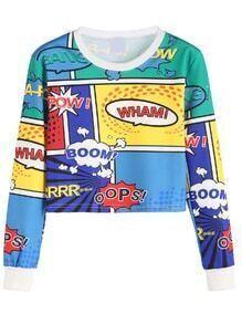 Contrast Trim Cartoon Print Crop Sweatshirt