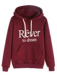 Burgundy Letter Print Raglan Sleeve Drawstring Hooded Pocket Sweatshirt