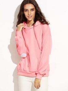 Pink Drop Shoulder Elbow Heart Embroidered Patches Hooded Sweatshirt
