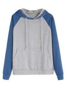 Color Block Raglan Sleeve Drawstring Hooded Pocket Sweatshirt