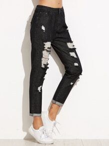 Black Ripped Rolled Hem Jeans