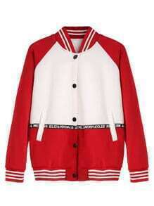Color Block Raglan Sleeve Baseball Jacket With Tape Detail