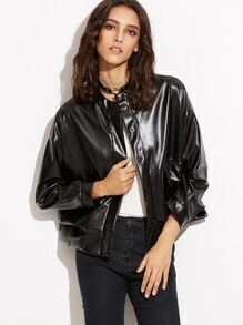 Black Dropped Shoulder Seam Faux Leather Button Jacket