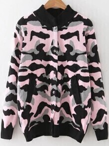 Pink Camouflage Pattern Button Up Sweater Coat