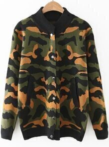 Army Green Camouflage Pattern Button Up Sweater Coat