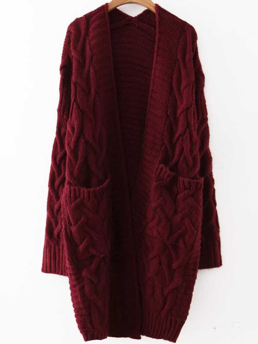 Red Cable Knit Front Pocket Long Sweater Coatfor Women Romwe