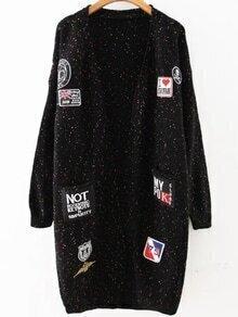 Black Patch Embellished Drop Shoulder Sweater Coat