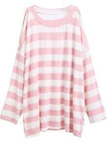 Pink Striped Open Shoulder Side Split T-shirt