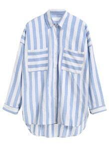 Blue Striped Dip Hem Shirt With Pockets