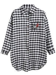 Black White Plaid Letter Patch Pocket Shirt