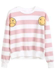 Pink Striped Emoji Patch Sweatshirt